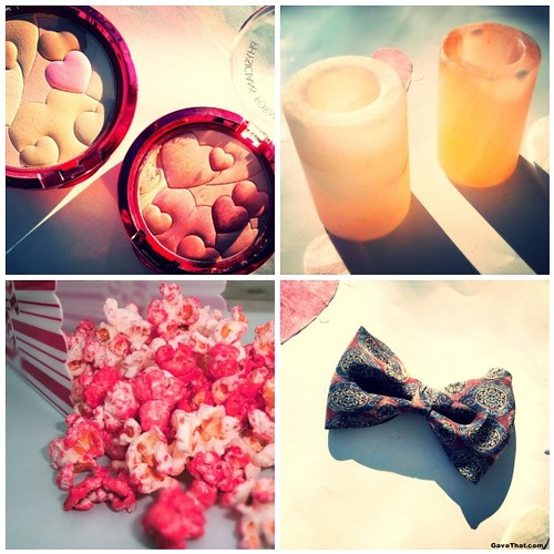 Valentines Day Gift Guide featuring Pink Salt Shot Glasses Happy Booster Blush Powders DIY Pink Candy Popcorn and Silk Bow Tie