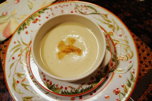 At Home:  Curried Cream of Cauliflower and Apple Soup