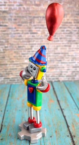 Robot Birthday Cake Topper Red Zed by HerArtSheLoves