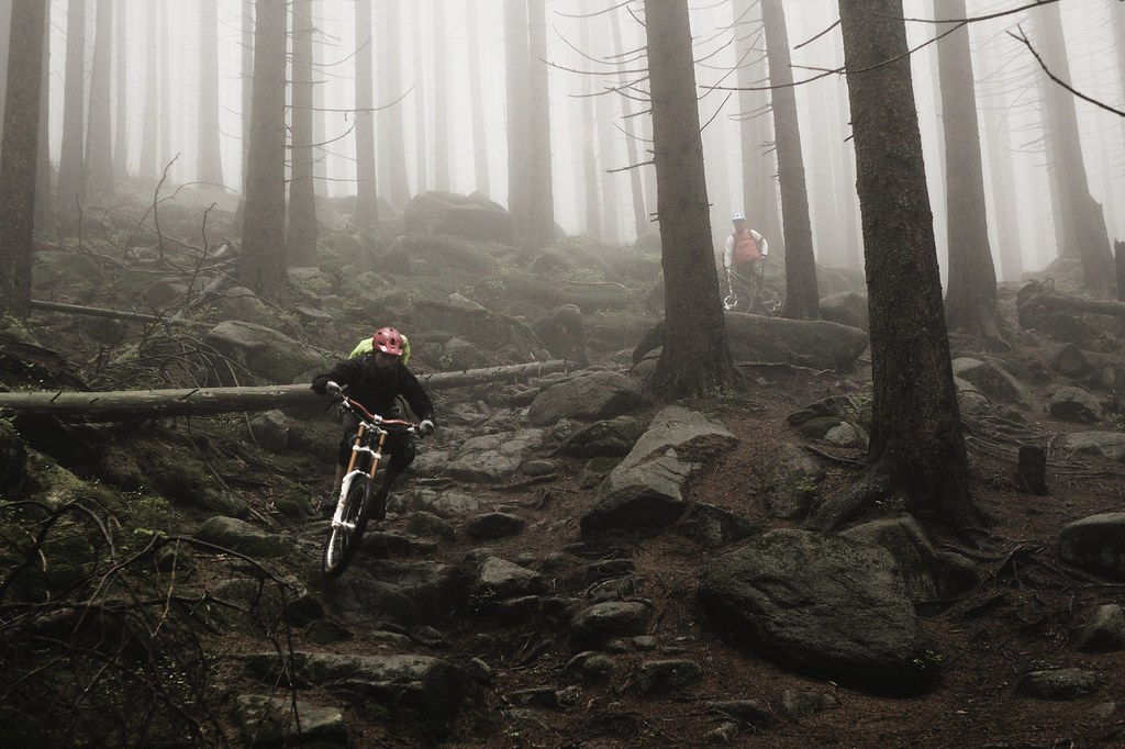 ... Schneider shreds a snowy singletrack in the Harz mountains, Germany