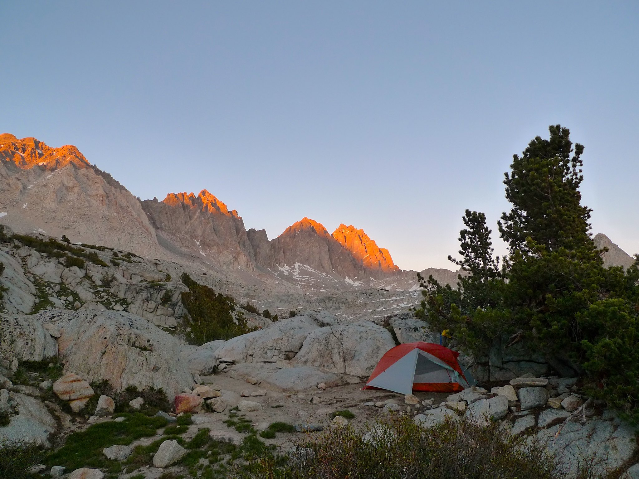 Sunset alpenglow above my camp in upper Dusy Basin