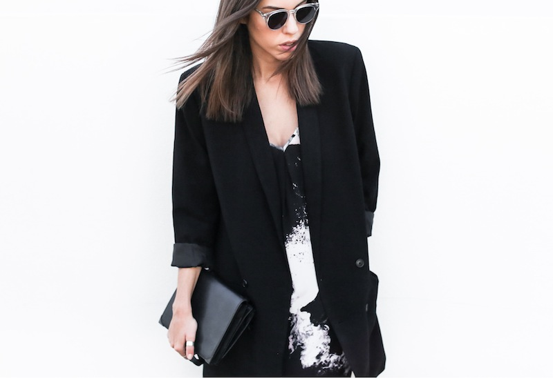 modern legacy fashion blog street style ASOS sale Monki boyfriend blazer Aryn K print cami midi dress Helmut Lang Benday leather pointed oxfords Alexander Wang Prisma clutch bag office workwear inspo  (4 of 7)