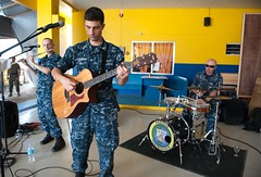 The Pacific Fleet Band performs at the Eastern Visayas Regional Medical Center in Tacloban for their anniversary ceremony. (U.S. Navy/MC2 Karolina A. Oseguera)