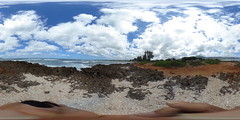 A view of Kaiaka Beach Park at Haleiwa on the North Shore of Oahu, Hawaii  - A 360 degree Equirectangular VR