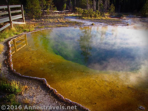 Morning Glory Pool in the Upper Geyser Basin less than an hour before sunset, Yellowstone National Park, Wyoming