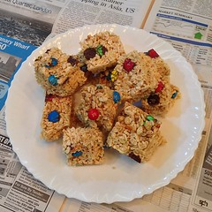 and 'cause pia is coming, i made these #rice #crispy treats with #m&m's. i didn't put enough #marshmallow #fluff so it's not as gooey as it should be
