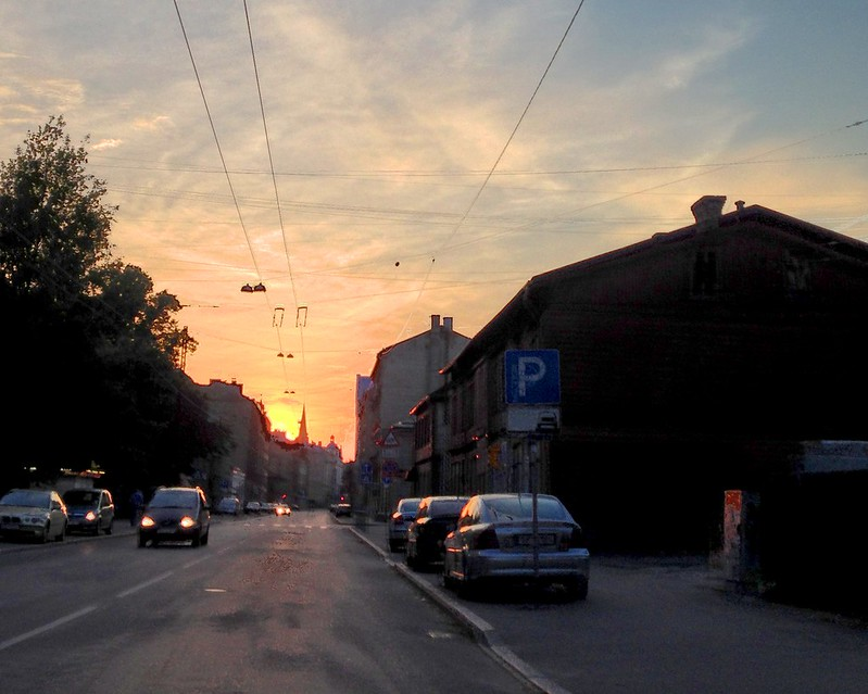 Sunset over Tallinas street by aigarsbruvelis