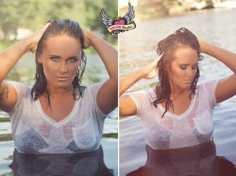 River Water Wet Hair Outdoor Boudoir Wet T-Shirt