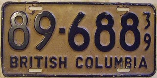 BRITISH COLUMBIA 1939 ---LICENSE PLATE