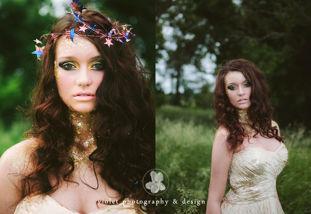 Americana Hippie shoot avant garde makeup miracurl tool