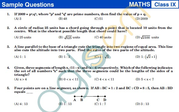 UCO 2013 Sample Papers for ClassIX - Mathematics