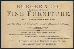 Burger & Co., fine furniture manufacturers. N. W. cor. Eleventh & Market Sts. (back)