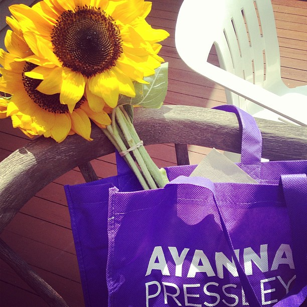 My new Ayanna Pressley tote goes well with my sunflowers from the Egleston Square farmers market!