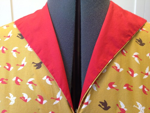 mustard bird dress collar