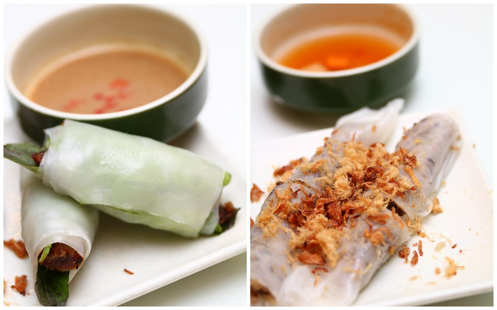 Wrap & Roll: Minced pork & mushroom in steamed rice paper rolls onthe left & Minced pork & mushroom in steamed rice paper rolls on the right