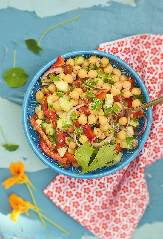 chickpeas and pepper salad.