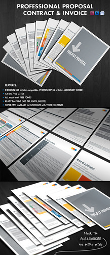 Business proposal template, Professional Proposal Contract Invoice