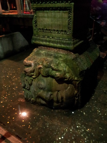 old statue pillar in the Basilica Cistern