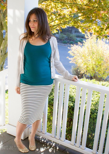 striped maternity pencil skirt
