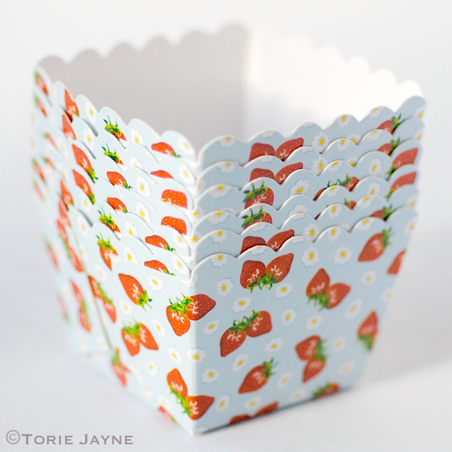 Strawberry print baking cups