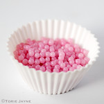 Pink sugar pearls