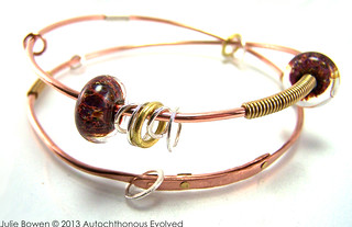Riveted Wrap Bangle With Borosilicate Slider Beads