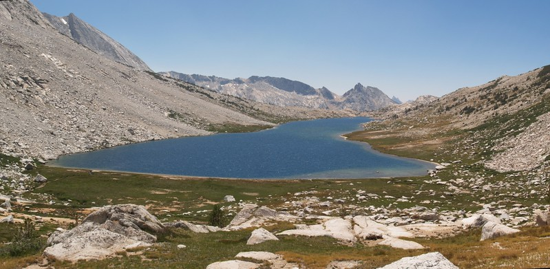 Ascending Don't Be A Smart Pass, Roosevelt Lake, center, Peak 11806 on the left and Ragged Peak in the distance on the right