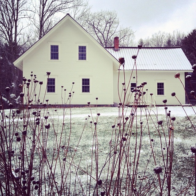 This morning - our first snow in the farmhouse.