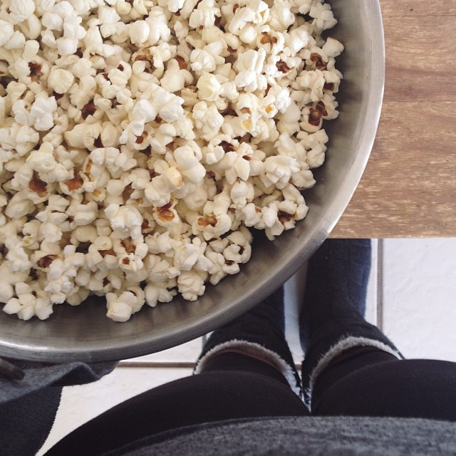 veteran garland-maker tip: pop your corn a day or two in advance. stale popcorn is easier to string. #ahartfeltadvent