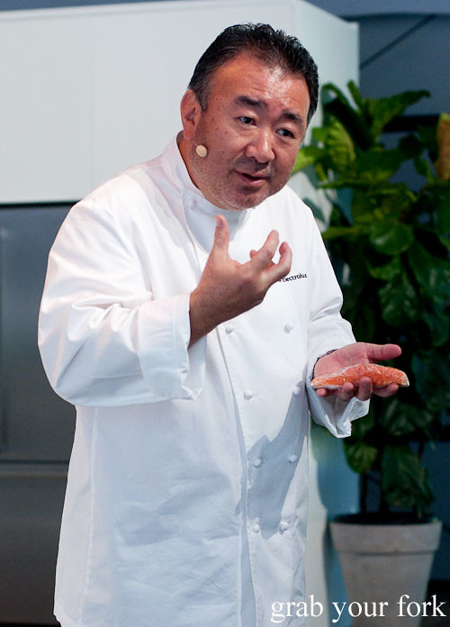 Tetsuya Wakuda explaining how to cook ocean trout