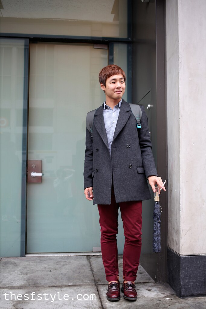 man morsel monday, burgundy oxfords, burgundy chinos, pea coat, san francisco streetstyle fashion blog,