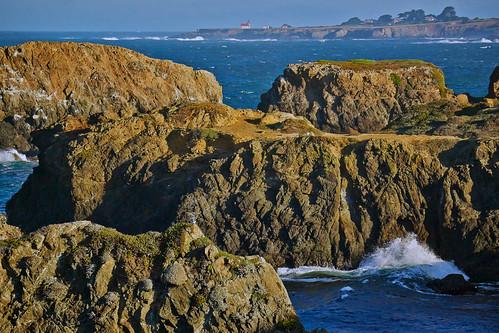 ocean california lighthouse water coast waves unitedstates pacific shoreline pacificocean shore mendocino seastack pointcabrillolightstation
