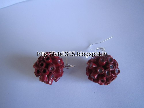 Handmade Jewelry - Paper Quilling Globle Earrings (Maroon - V) (2) by fah2305