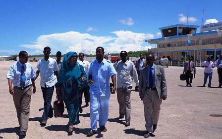 Somalia Foreign Minister Fozia Yusuf arriving in Juba, Republic of South Sudan on December 20, 2013. She is part of a IGAD mission. by Pan-African News Wire File Photos