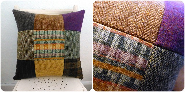 "Uncle Jerry's tweed/wool cushion (18"")"
