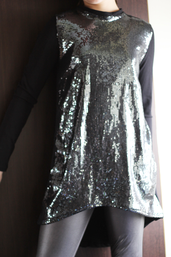 sequin jersey tunic dress
