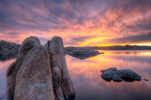 sunset arizona lake reflection water sunrise az watson prescott michaelwilson arizonapassages michaelwilsoncom
