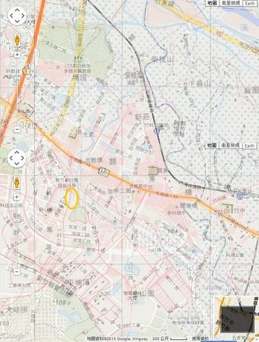 冷水坑溪 民國七十幾年經建版地圖與現今的等高線圖套疊 可以對照出相關位置,黃色圈圈即為昔稱冷水坑的地方。