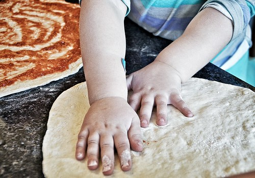 Toddler made pizza dough