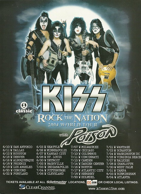 "June - August 2004 Kiss/ Poison ""Rock The Nation"" US Tour Ad"