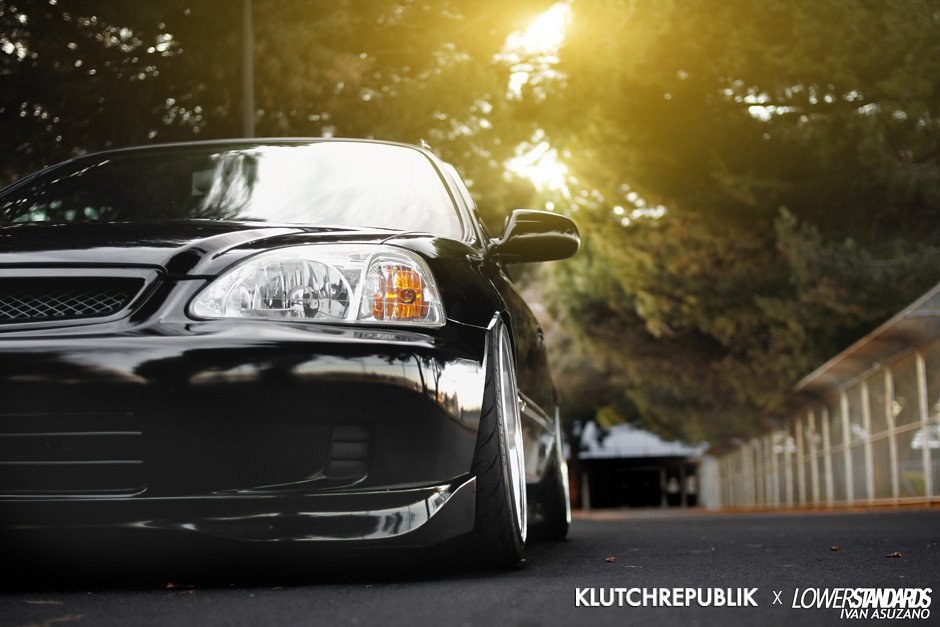 black honda civic ek coupe on klutch wheels sl1 16x9 front and rear