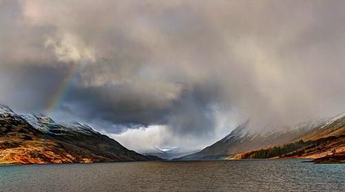 winter mountain landscape scotland rainbow loch munro
