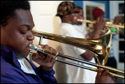 Edna Karr High School Brass Band at WWOZ: Desmond Bemiss, foreground. Photo by Ryan Hodgson-Rigsbee www.rhrphoto.com