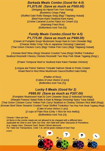 101 Jan 2014 Combo Meals Menu Page