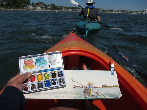 Sketching from the towed kayak in Long Island Sound - Shippan Point, Stamford, CT