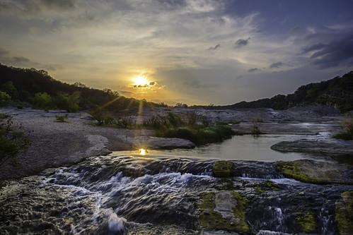 sunset sun reflection river landscape waterfall texas rays hdr pedernales pedernalesriver texashillcountry pedernalesfallsstatepark donjschultephotography