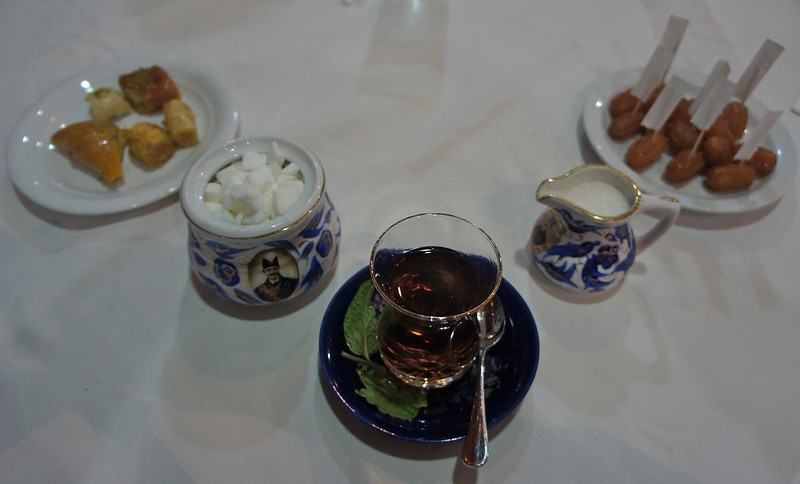 Iranian tea and sweets at Abshar Restaurant, Diera