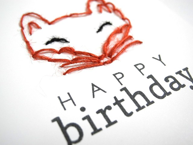 Stitched Fox Birthday (detail)