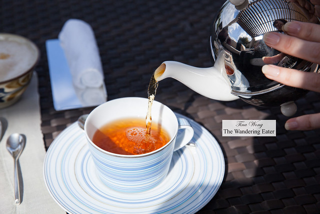 Pouring  my cup of Ritz Carlton Okinawa tea blend