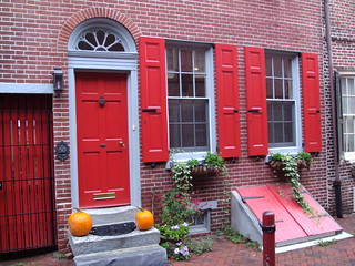 Image of Elfreth's Alley. pretty autumn colours philadelphia street fall pumkins